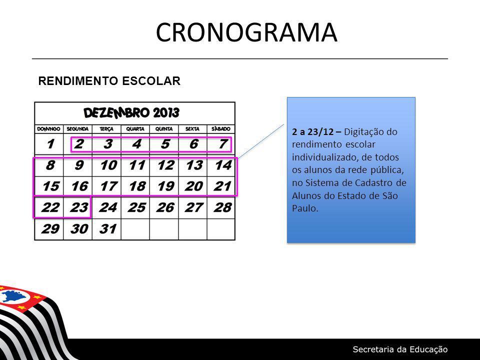 CRONOGRAMA RENDIMENTO ESCOLAR 2 a 23/12 – Digitação do rendimento escolar individualizado, de todos os alunos da rede pública, no Sistema de Cadastro