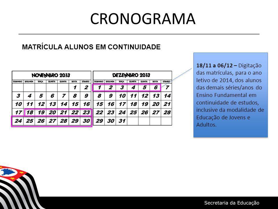 CRONOGRAMA MATRÍCULA ALUNOS EM CONTINUIDADE 18/11 a 06/12 – Digitação das matrículas, para o ano letivo de 2014, dos alunos das demais séries/anos do