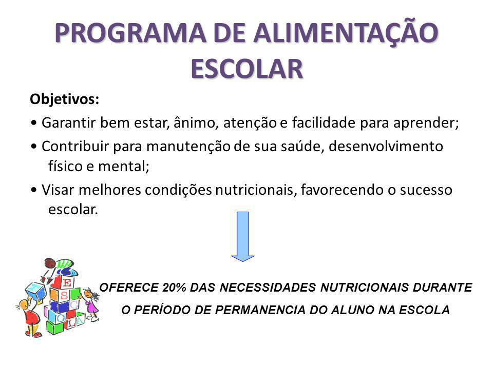 Objetivos: Garantir bem estar, ânimo, atenção e facilidade para aprender; Contribuir para manutenção de sua saúde, desenvolvimento físico e mental; Visar melhores condições nutricionais, favorecendo o sucesso escolar.