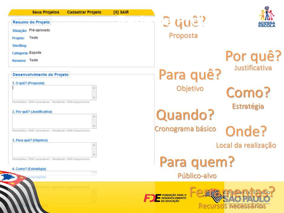 O quê.Proposta http://acessaescola.fde.sp.gov.br/ Por quê.
