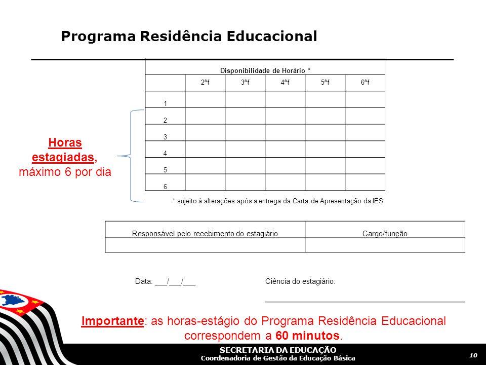 SECRETARIA DA EDUCAÇÃO Coordenadoria de Gestão da Educação Básica Programa Residência Educacional 10 Disponibilidade de Horário * 2ªf3ªf4ªf5ªf6ªf 1 2 3 4 5 6 * sujeito à alterações após a entrega da Carta de Apresentação da IES.