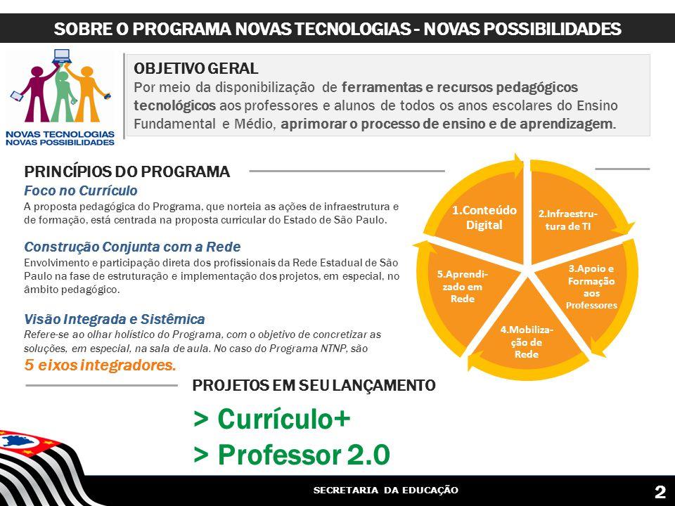 SECRETARIA DA EDUCAÇÃO OBJETIVO GERAL Por meio da disponibilização de ferramentas e recursos pedagógicos tecnológicos aos professores e alunos de todos os anos escolares do Ensino Fundamental e Médio, aprimorar o processo de ensino e de aprendizagem.