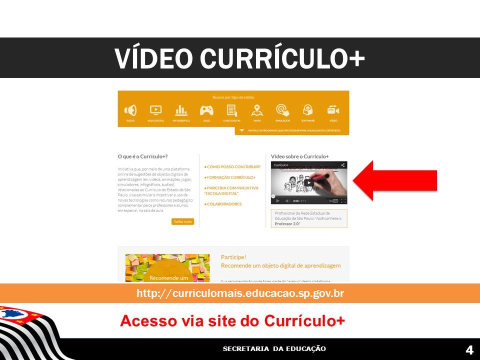 SECRETARIA DA EDUCAÇÃO VÍDEO CURRÍCULO+ 4 Acesso via site do Currículo+ http://curriculomais.educacao.sp.gov.br