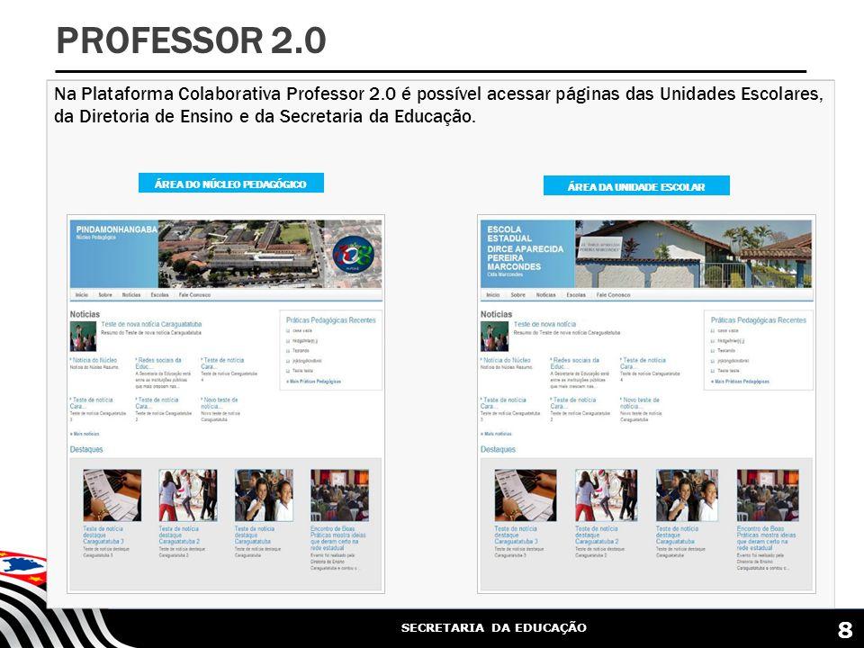 SECRETARIA DA EDUCAÇÃO Na Plataforma Colaborativa Professor 2.0 é possível acessar páginas das Unidades Escolares, da Diretoria de Ensino e da Secretaria da Educação.