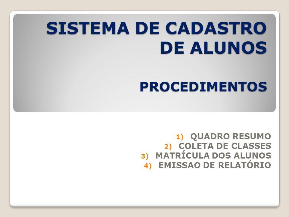 SISTEMA DE CADASTRO DE ALUNOS PROCEDIMENTOS 1) QUADRO RESUMO 2) COLETA DE CLASSES 3) MATRÍCULA DOS ALUNOS 4) EMISSAO DE RELATÓRIO