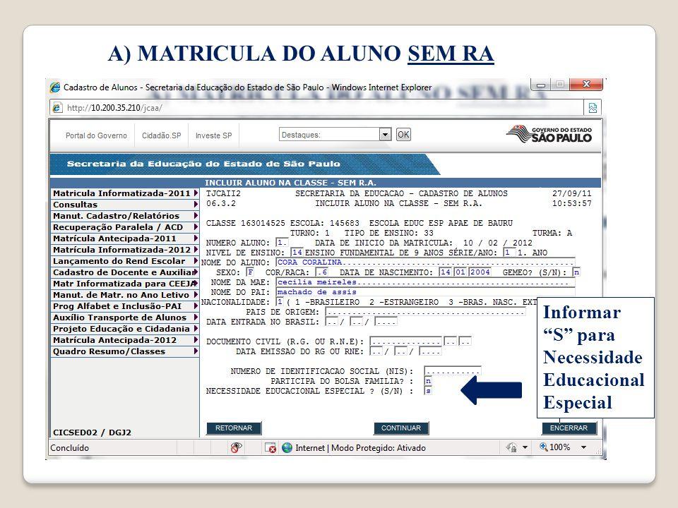 Informar S para Necessidade Educacional Especial