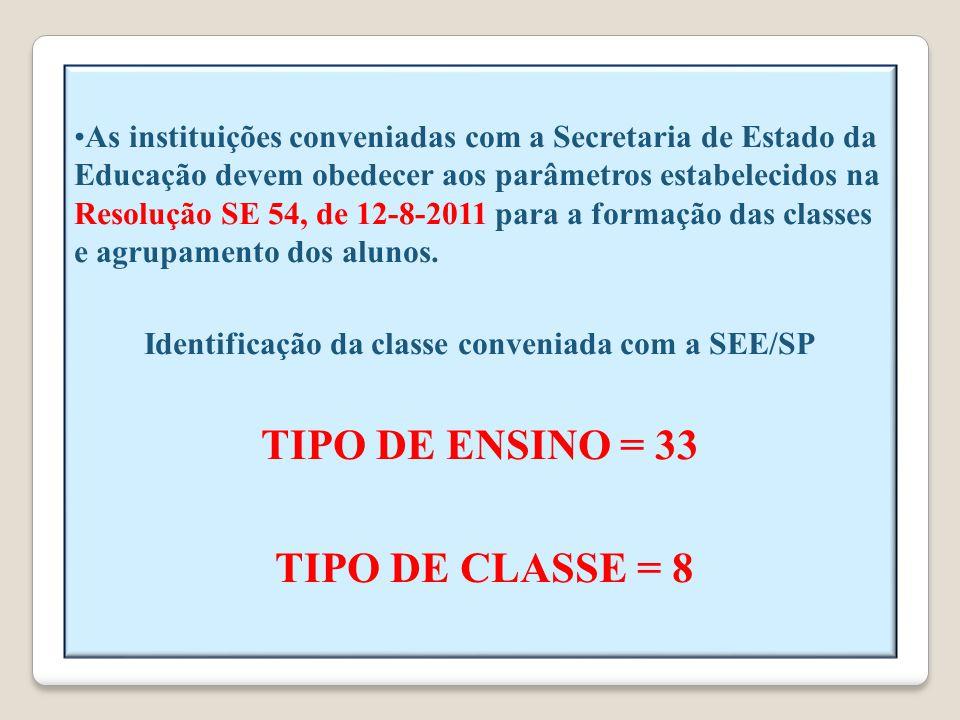 As instituições conveniadas com a Secretaria de Estado da Educação devem obedecer aos parâmetros estabelecidos na Resolução SE 54, de 12-8-2011 para a formação das classes e agrupamento dos alunos.