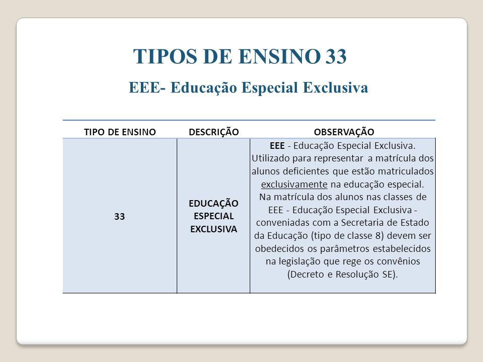 TIPOS DE ENSINO 33 EEE- Educação Especial Exclusiva TIPO DE ENSINODESCRIÇÃO OBSERVAÇÃO 33 EDUCAÇÃO ESPECIAL EXCLUSIVA EEE - Educação Especial Exclusiva.