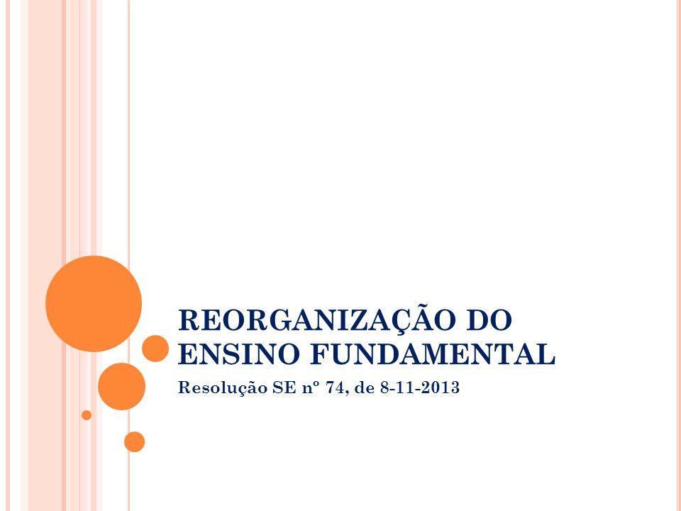 REORGANIZAÇÃO DO ENSINO FUNDAMENTAL Resolução SE nº 74, de 8-11-2013