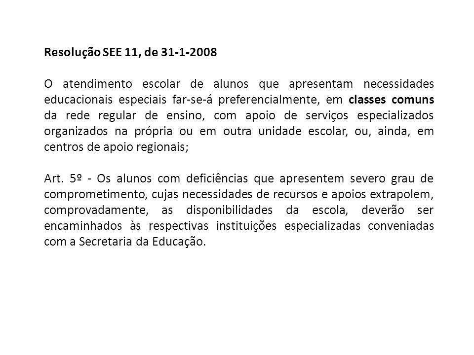 Resolução SEE 11, de 31-1-2008 O atendimento escolar de alunos que apresentam necessidades educacionais especiais far-se-á preferencialmente, em class