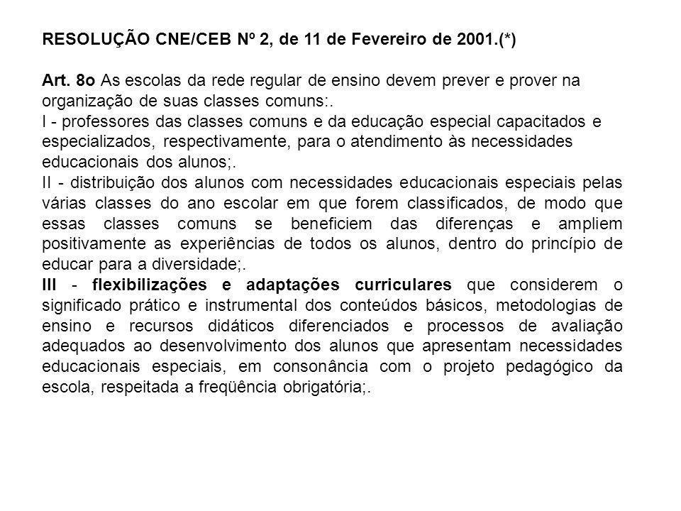 RESOLUÇÃO CNE/CEB Nº 2, de 11 de Fevereiro de 2001.(*) Art. 8o As escolas da rede regular de ensino devem prever e prover na organização de suas class