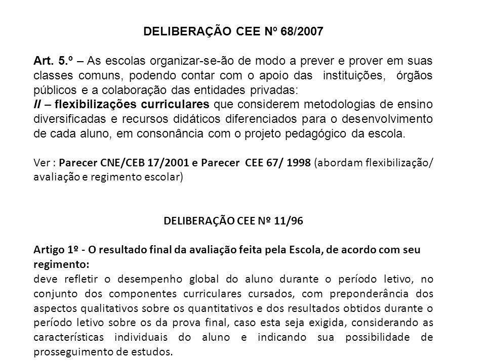 DELIBERAÇÃO CEE Nº 68/2007 Art. 5.º – As escolas organizar-se-ão de modo a prever e prover em suas classes comuns, podendo contar com o apoio das inst
