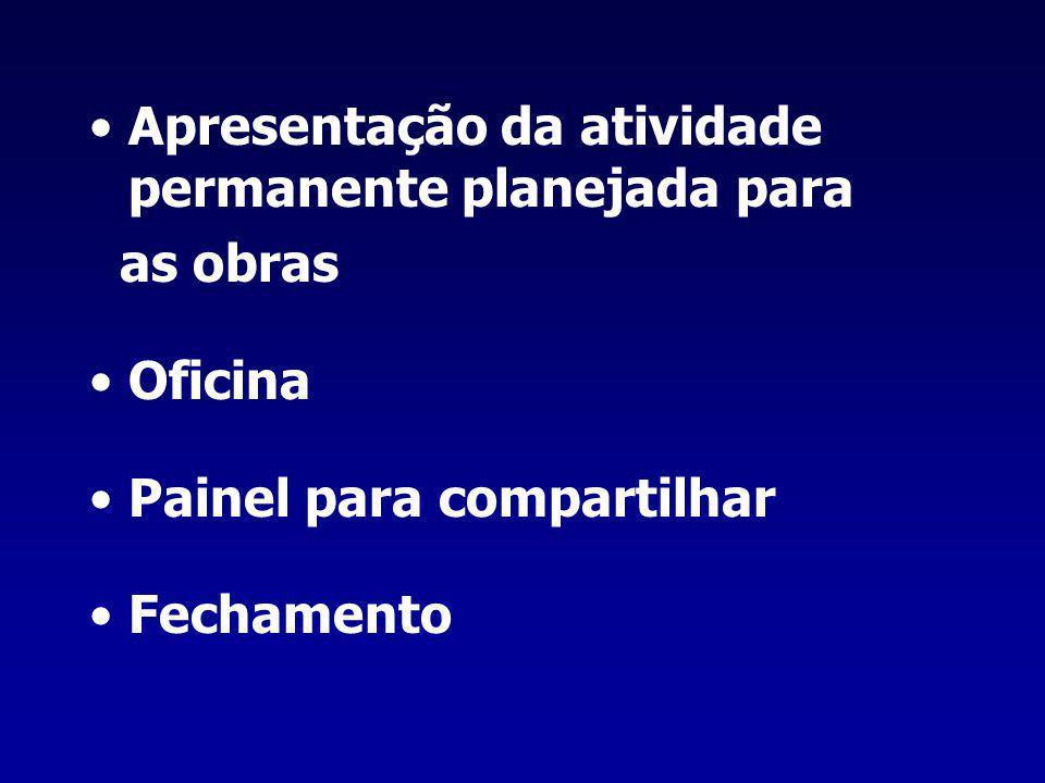 Apresentação da atividade permanente planejada para as obras Oficina Painel para compartilhar Fechamento
