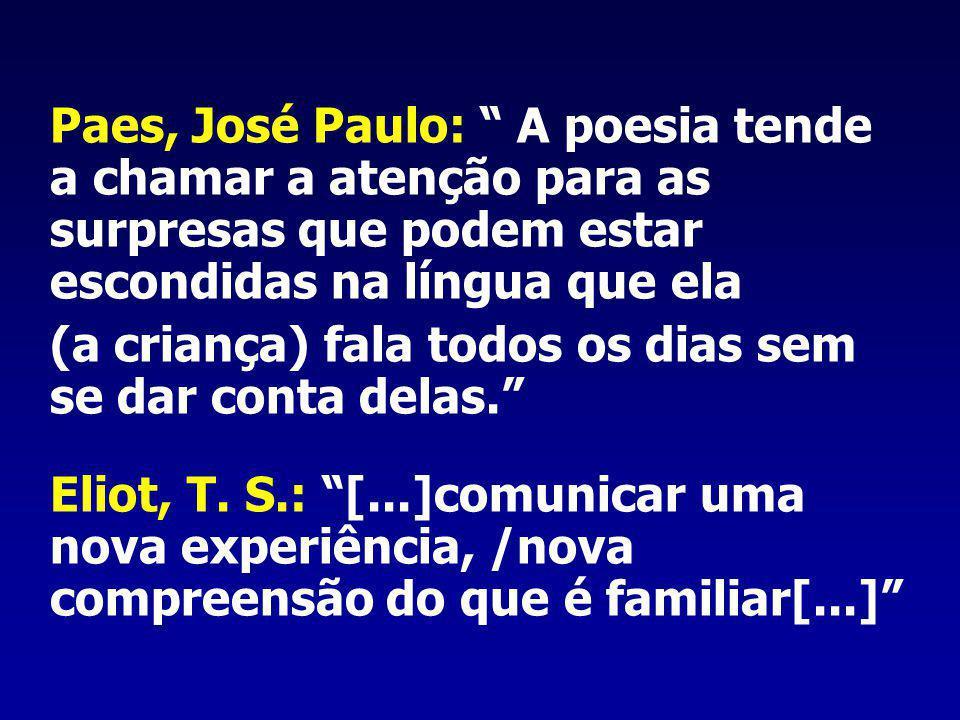Paes, José Paulo: A poesia tende a chamar a atenção para as surpresas que podem estar escondidas na língua que ela (a criança) fala todos os dias sem