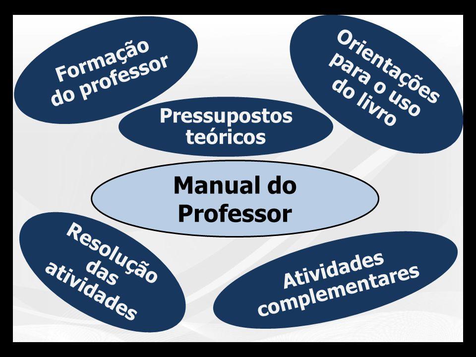 Manual do Professor Atividades complementares Pressupostos teóricos Orientações para o uso do livro Resolução das atividades Formação do professor