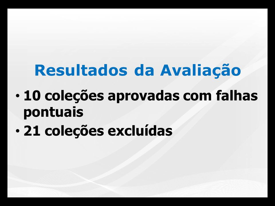 10 coleções aprovadas com falhas pontuais 21 coleções excluídas Resultados da Avaliação