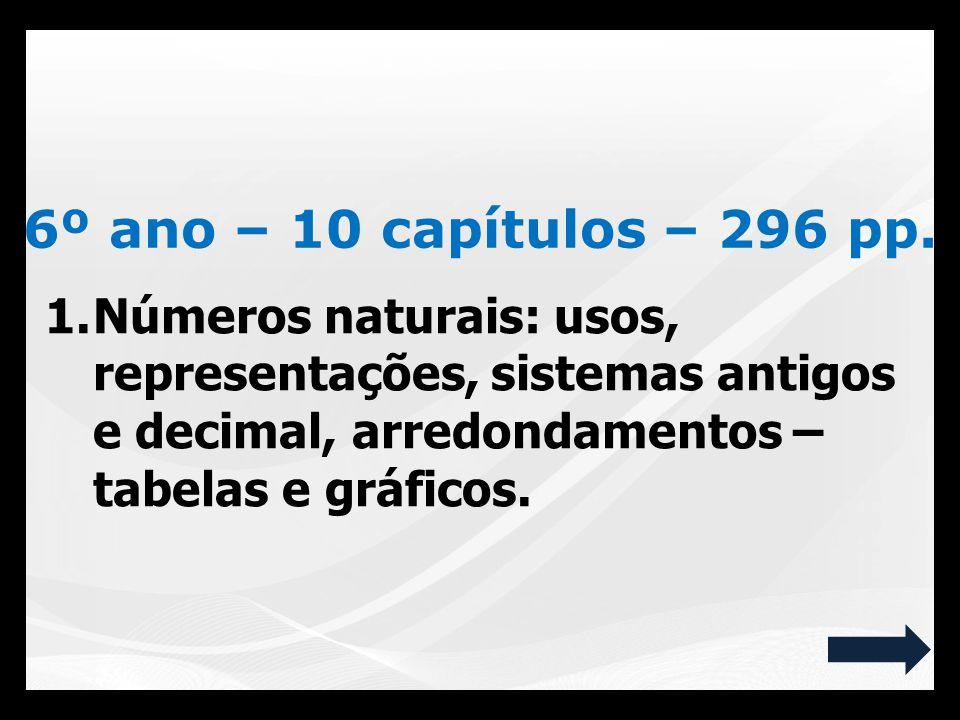 1.Números naturais: usos, representações, sistemas antigos e decimal, arredondamentos – tabelas e gráficos. 6º ano – 10 capítulos – 296 pp.