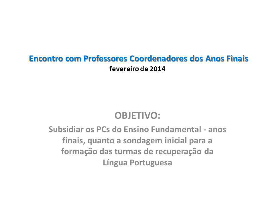 Encontro com Professores Coordenadores dos Anos Finais Encontro com Professores Coordenadores dos Anos Finais fevereiro de 2014 OBJETIVO: Subsidiar os PCs do Ensino Fundamental - anos finais, quanto a sondagem inicial para a formação das turmas de recuperação da Língua Portuguesa