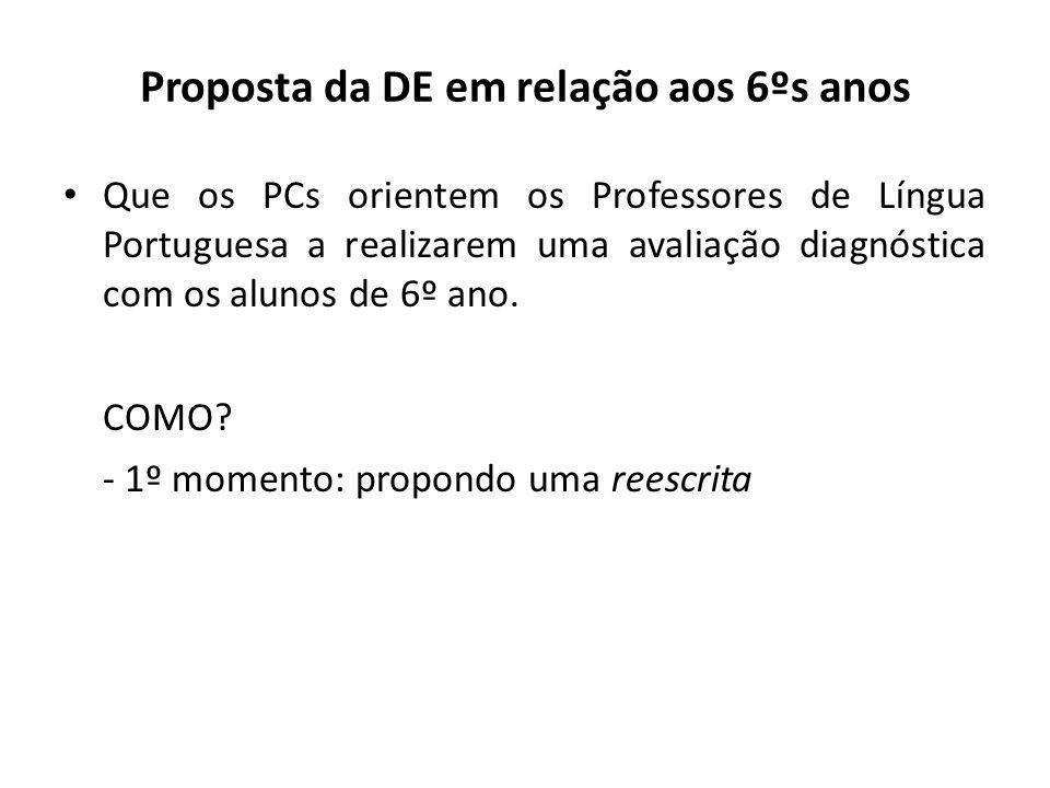 Proposta da DE em relação aos 6ºs anos Que os PCs orientem os Professores de Língua Portuguesa a realizarem uma avaliação diagnóstica com os alunos de 6º ano.