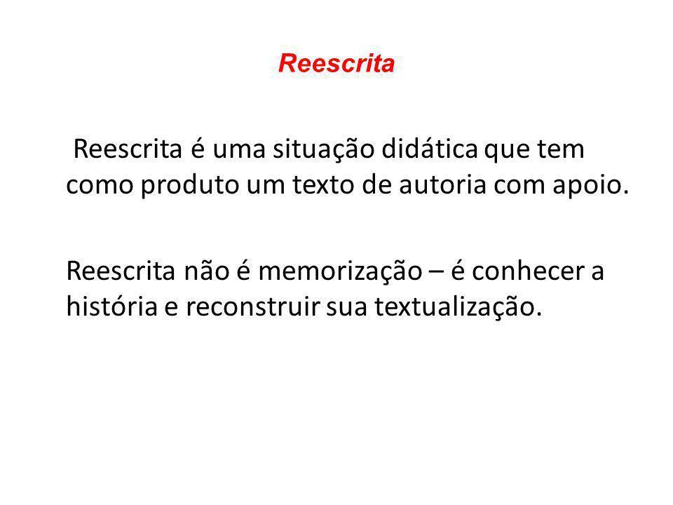 Reescrita Reescrita é uma situação didática que tem como produto um texto de autoria com apoio.