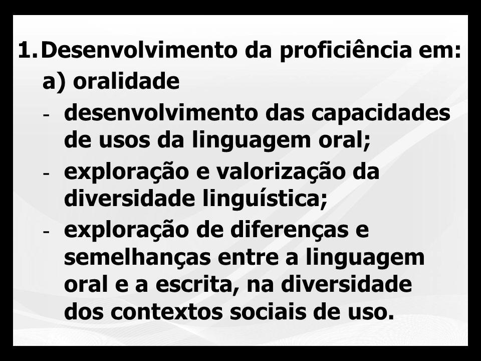 1.Desenvolvimento da proficiência em: b) Leitura -interlocução entre leitor, autor e texto; -práticas situadas no contexto social;