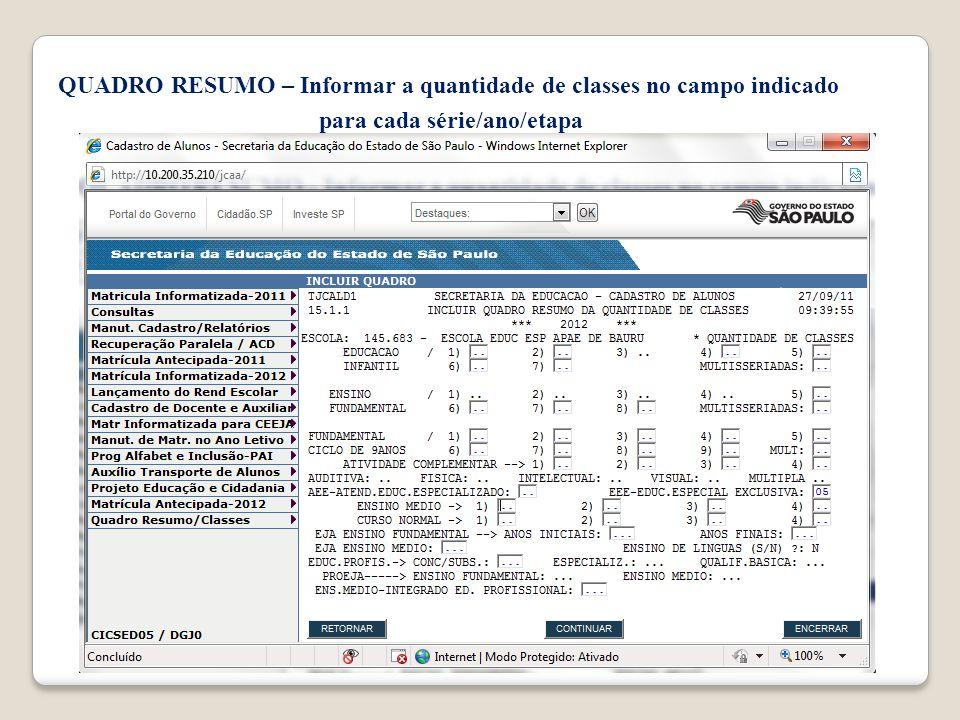 QUADRO RESUMO – Informar a quantidade de classes no campo indicado para cada série/ano/etapa