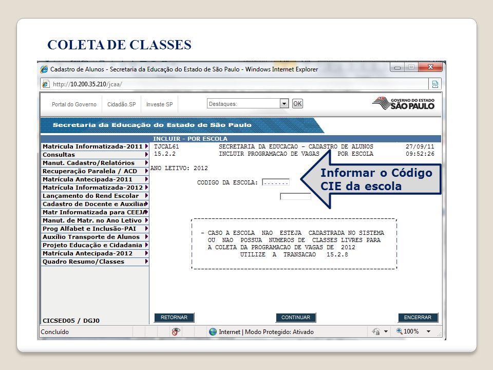 Informar o Código CIE da escola
