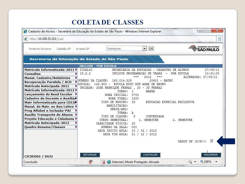 COLETA DE CLASSES