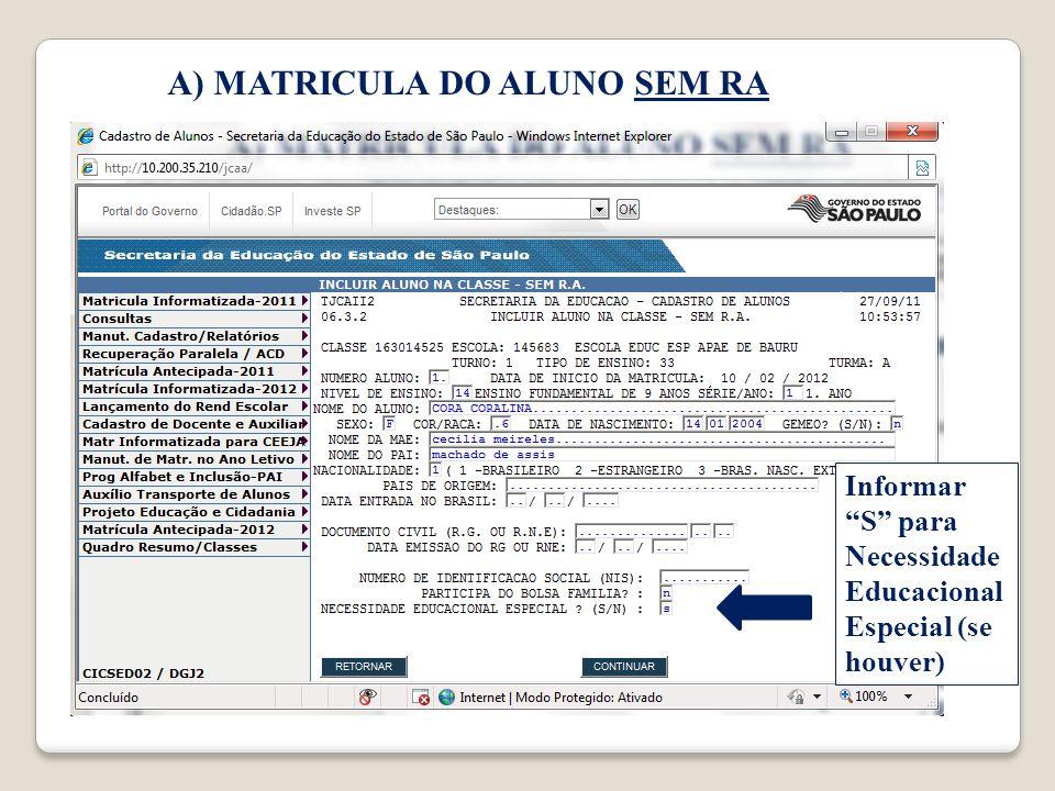 Informar S para Necessidade Educacional Especial (se houver)