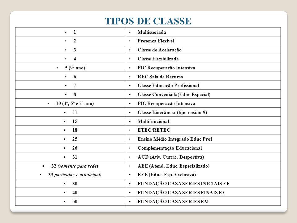 TIPOS DE CLASSE 1Multisseriada 2Presença Flexível 3Classe de Aceleração 4Classe Flexibilizada 5 (9º ano)PIC Recuperação Intensiva 6REC Sala de Recurso