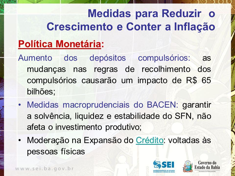 Política Monetária: Aumento dos depósitos compulsórios: as mudanças nas regras de recolhimento dos compulsórios causarão um impacto de R$ 65 bilhões;