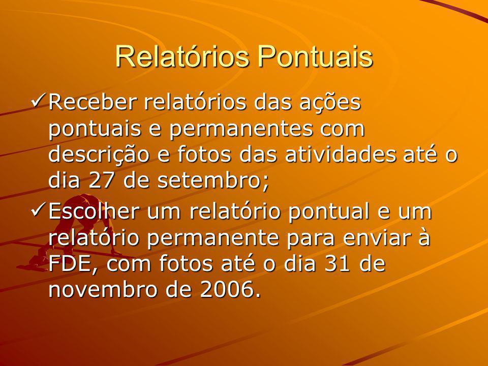 Modelo padrão dos relatórios pontuais Folha A4; Folha A4; Fonte arial 12; Fonte arial 12; Deve conter no máximo 3 páginas; Deve conter no máximo 3 páginas; Encaminhar para a D.E até o dia 20 de agosto.
