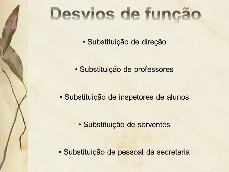 Substituição de direção Substituição de professores Substituição de inspetores de alunos Substituição de serventes Substituição de pessoal da secretar