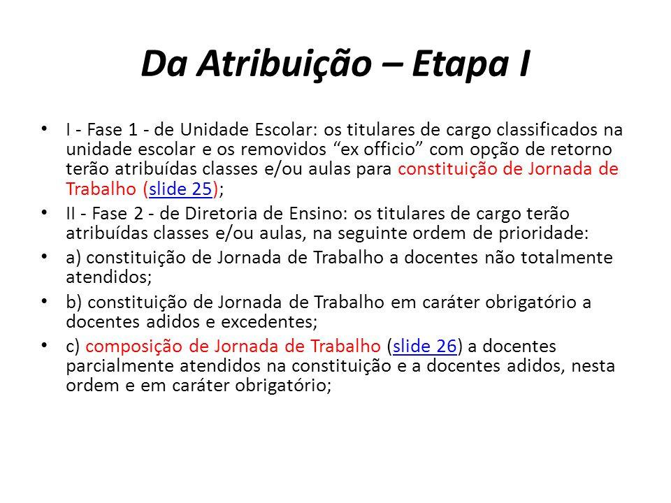 Da Atribuição – Etapa I I - Fase 1 - de Unidade Escolar: os titulares de cargo classificados na unidade escolar e os removidos ex officio com opção de