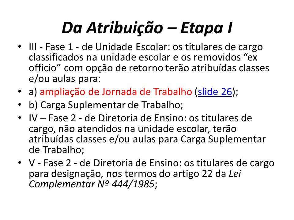 Da Atribuição – Etapa I III - Fase 1 - de Unidade Escolar: os titulares de cargo classificados na unidade escolar e os removidos ex officio com opção