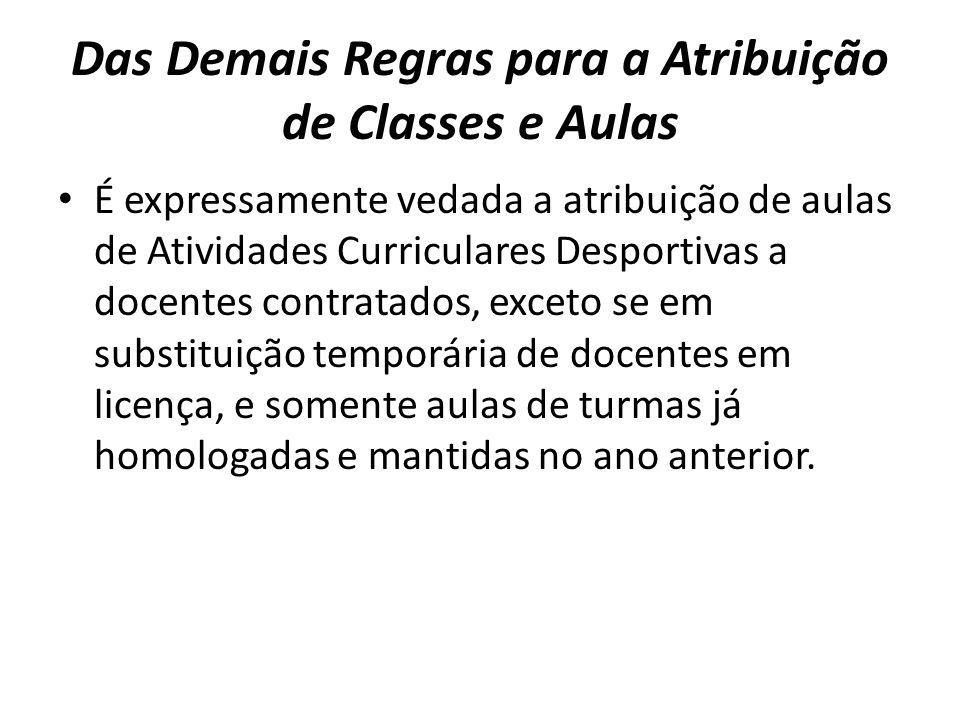 Das Demais Regras para a Atribuição de Classes e Aulas É expressamente vedada a atribuição de aulas de Atividades Curriculares Desportivas a docentes