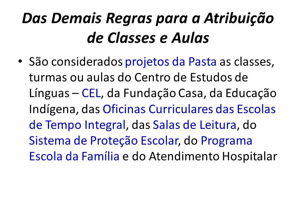 Das Demais Regras para a Atribuição de Classes e Aulas São considerados projetos da Pasta as classes, turmas ou aulas do Centro de Estudos de Línguas