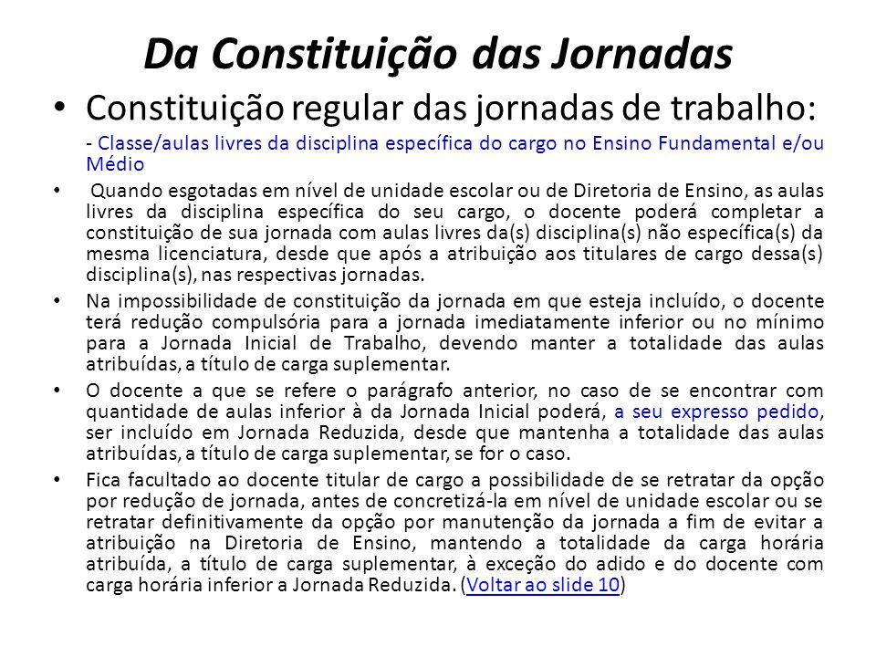 Da Constituição das Jornadas Constituição regular das jornadas de trabalho: - Classe/aulas livres da disciplina específica do cargo no Ensino Fundamen