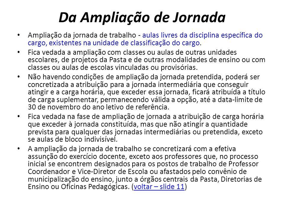 Da Ampliação de Jornada Ampliação da jornada de trabalho - aulas livres da disciplina específica do cargo, existentes na unidade de classificação do c