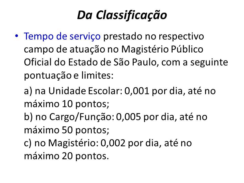 Da Classificação Tempo de serviço prestado no respectivo campo de atuação no Magistério Público Oficial do Estado de São Paulo, com a seguinte pontuaç