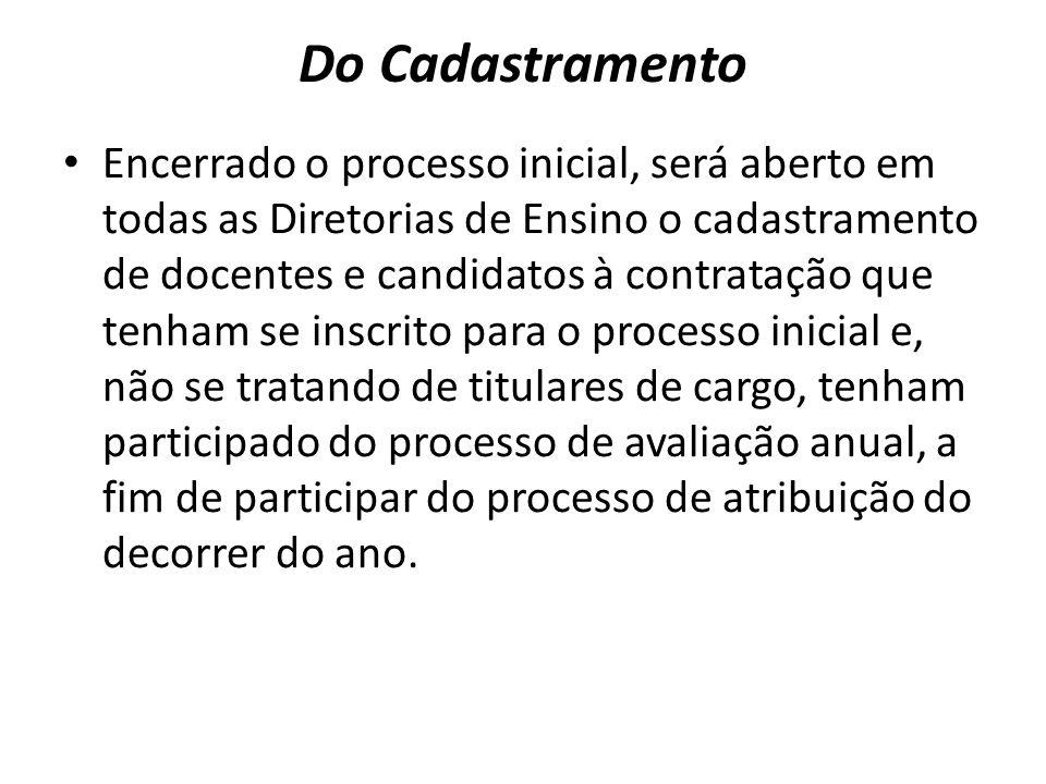 Do Cadastramento Encerrado o processo inicial, será aberto em todas as Diretorias de Ensino o cadastramento de docentes e candidatos à contratação que