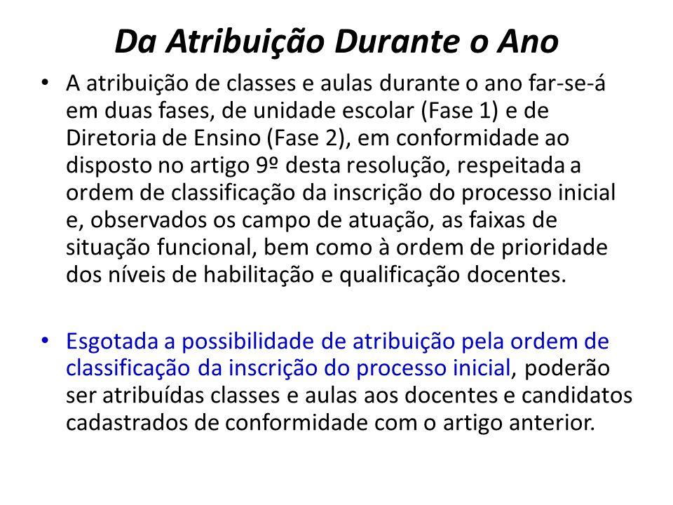 Da Atribuição Durante o Ano A atribuição de classes e aulas durante o ano far-se-á em duas fases, de unidade escolar (Fase 1) e de Diretoria de Ensino