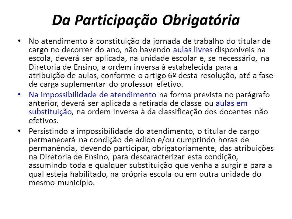 Da Participação Obrigatória No atendimento à constituição da jornada de trabalho do titular de cargo no decorrer do ano, não havendo aulas livres disp