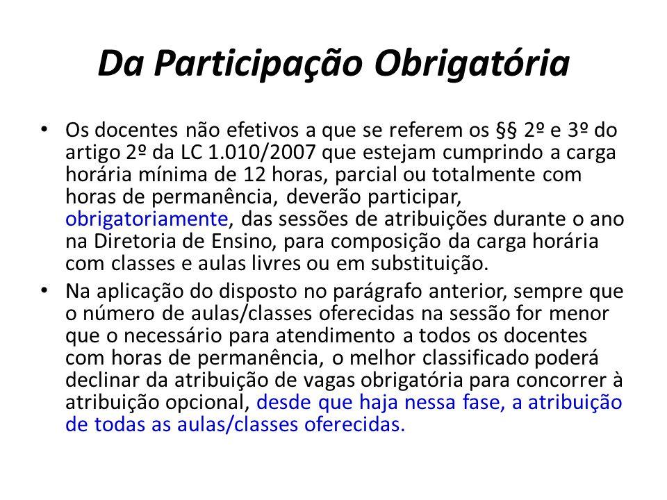 Da Participação Obrigatória Os docentes não efetivos a que se referem os §§ 2º e 3º do artigo 2º da LC 1.010/2007 que estejam cumprindo a carga horári