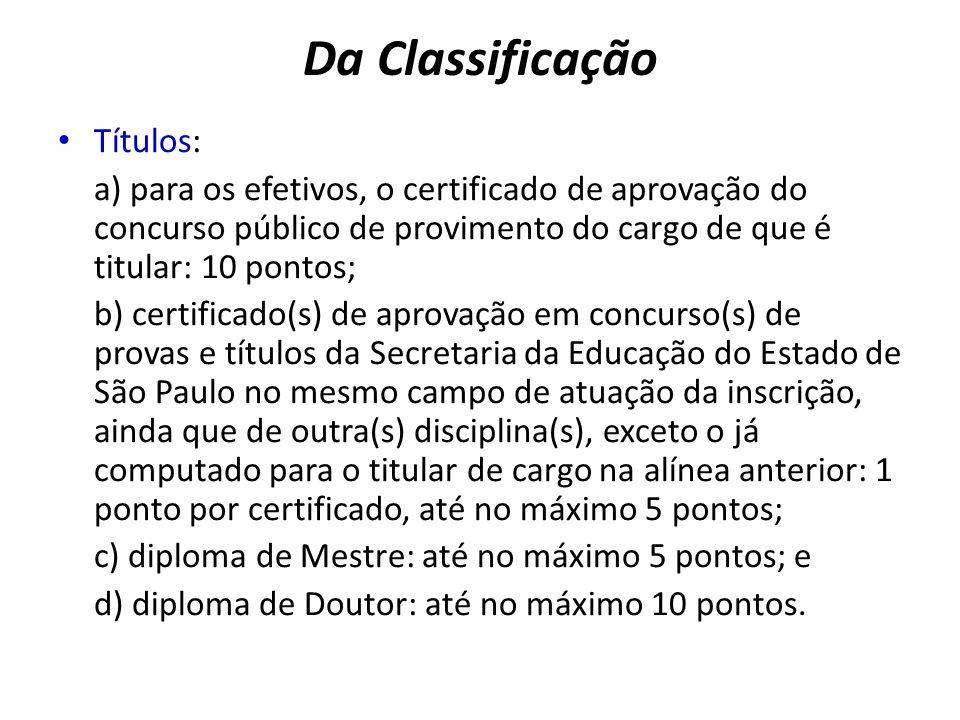 Títulos: a) para os efetivos, o certificado de aprovação do concurso público de provimento do cargo de que é titular: 10 pontos; b) certificado(s) de