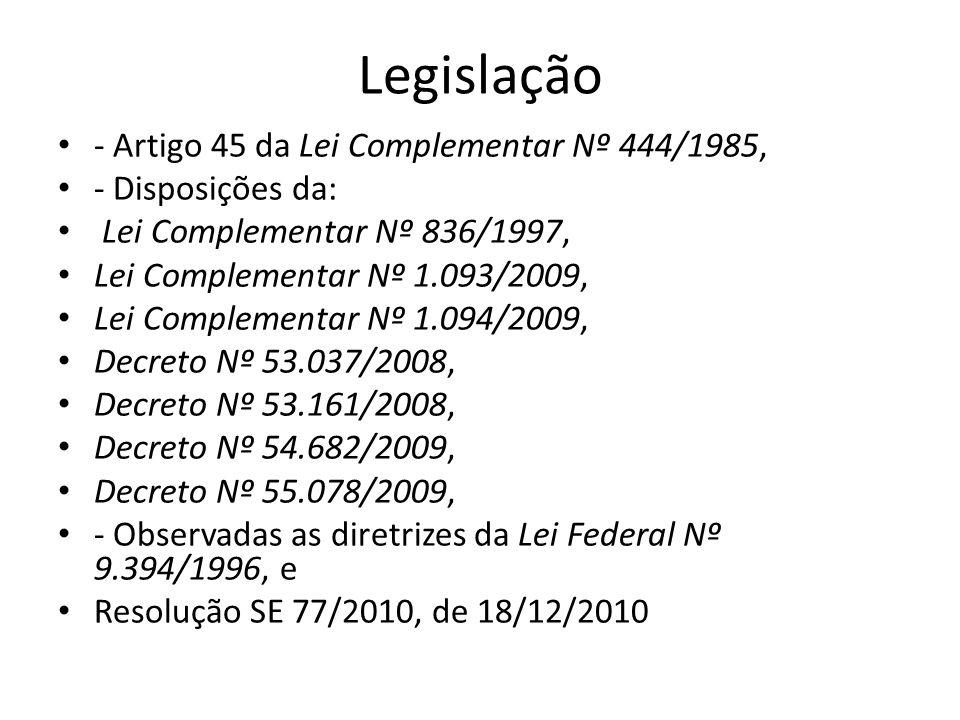 Legislação - Artigo 45 da Lei Complementar Nº 444/1985, - Disposições da: Lei Complementar Nº 836/1997, Lei Complementar Nº 1.093/2009, Lei Complement