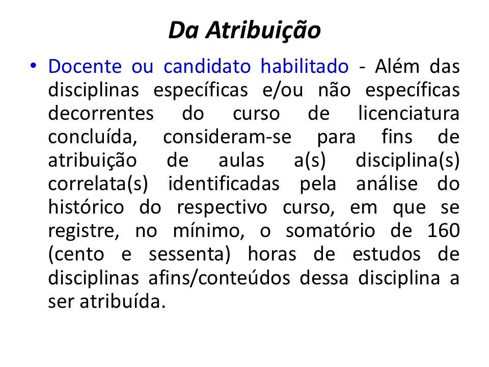 Da Atribuição Docente ou candidato habilitado - Além das disciplinas específicas e/ou não específicas decorrentes do curso de licenciatura concluída,