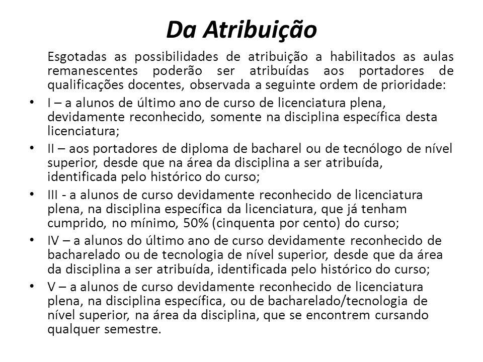 Da Atribuição Esgotadas as possibilidades de atribuição a habilitados as aulas remanescentes poderão ser atribuídas aos portadores de qualificações do