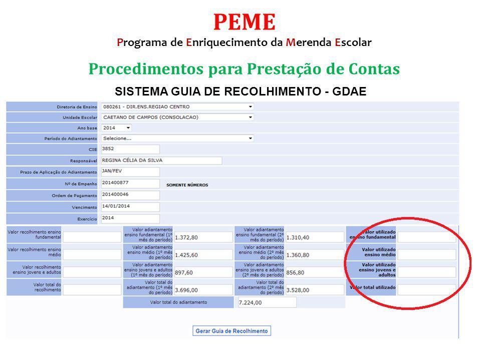 SISTEMA GUIA DE RECOLHIMENTO - GDAE Procedimentos para Prestação de Contas PEME Programa de Enriquecimento da Merenda Escolar
