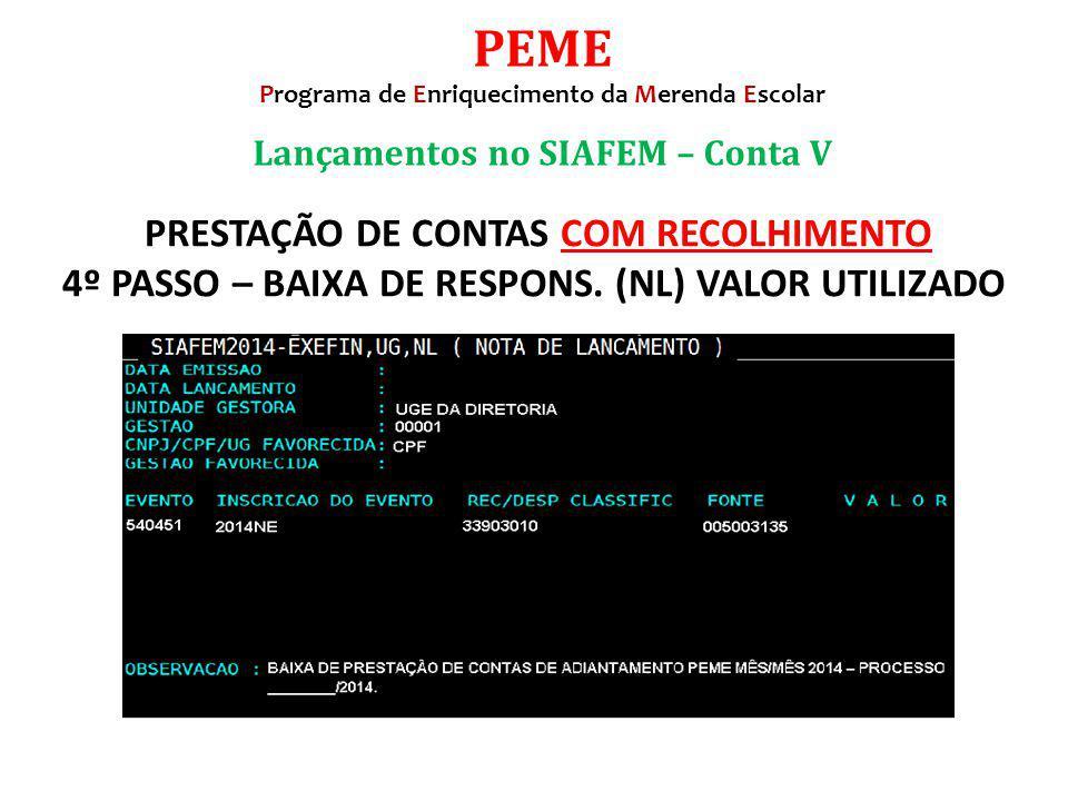 Lançamentos no SIAFEM – Conta V PEME Programa de Enriquecimento da Merenda Escolar PRESTAÇÃO DE CONTAS COM RECOLHIMENTO 4º PASSO – BAIXA DE RESPONS. (